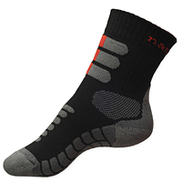 Nanosilver ponožky se stříbrem na treking šedo-černé-červené