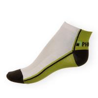 Kotníkové ponožky Phuseckle Summerline zeleno-bílé půlené