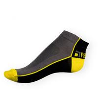 Kotníkové ponožky Phuseckle Summerline šedo-černé se žlutou